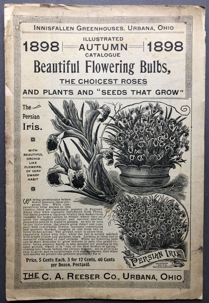 """Innisfallen Greenhouses Urbana Ohio 1898 Illustrated Autumn Catalogue, Beautiful Flowering Buylbs, the Choicest Roses and plants and """"Seeds that Grow"""" C. A. Reeser Co."""