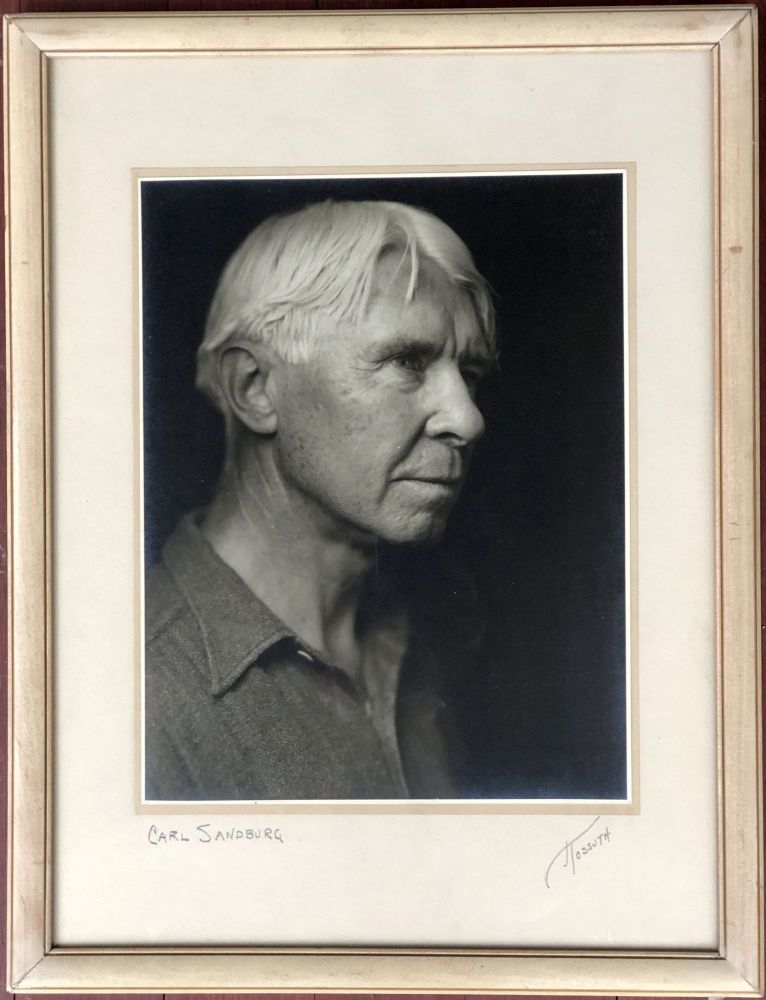 Large signed original framed 1935 silver gelatin photograph of Carl Sandburg. George Kossuth.
