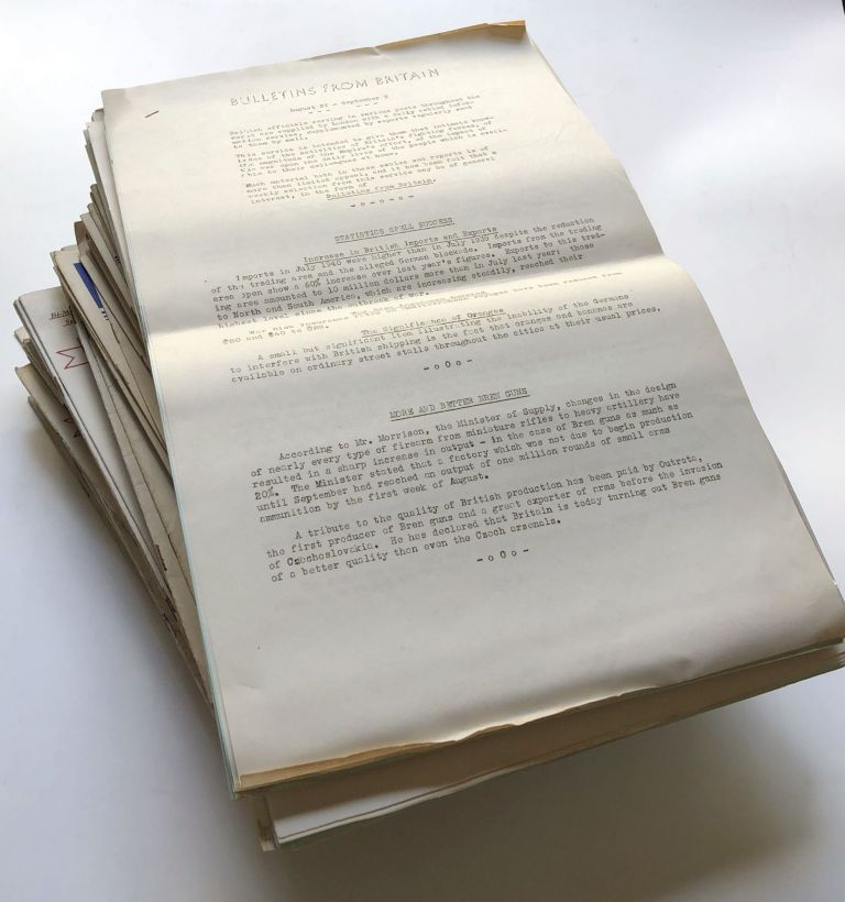 Bulletins From Britain, nos. 1-111, August 27, 1940 - October 14, 1942 COMPLETE. British Library of Information.