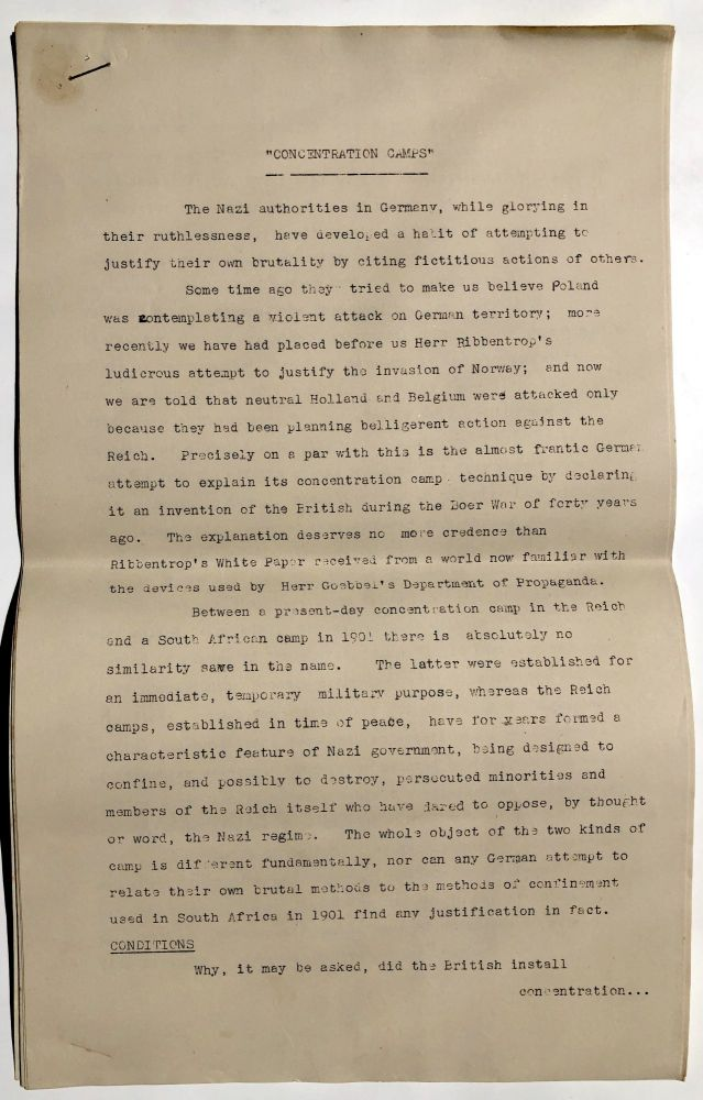 """""""Concentration Camps"""" (published essay ca. 1940 refuting Ribbentrop's claim that Nazi concentration camps were based on the British model used in the Boer War). British Library of Information."""