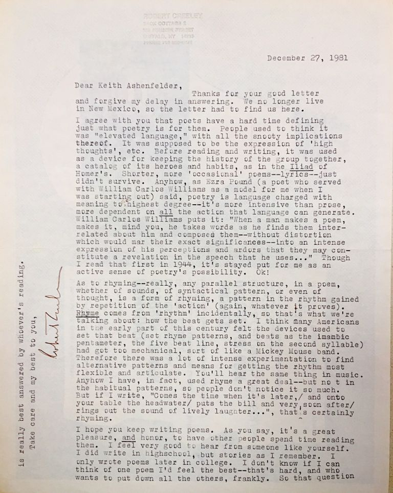Typed letter, December 27, 1981, on poetry and prosody. Robert Creeley.