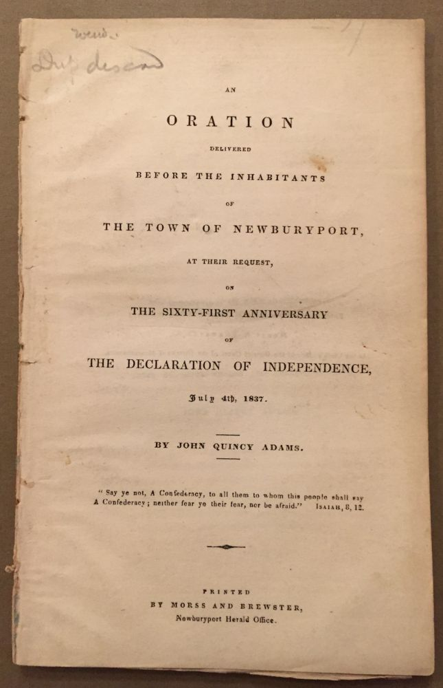 An Oration Delivered before the Inhabitants of the Town of...