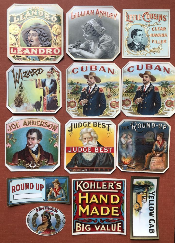 Lot of 13 unused cigar box labels, 1900s: The Round-Up, Judge Best, Joe Anderson, Cuban (2), Yellow Cab, Wizard, Lillian Ashely, Leandro, Kohler's Hand Made Big Value, Little Cousins Clear Havana Filler, Siminola, Round Up (smaller). Cigar Box Labels.
