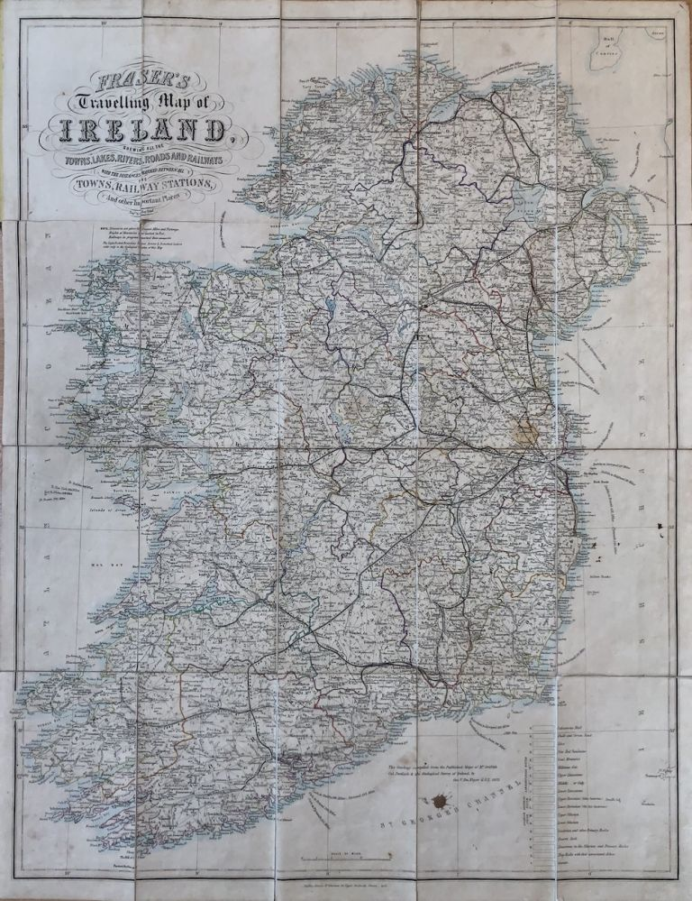 Fraser's Travelling Map of Ireland, Shewing all the Towns, Lakes, Rivers, Roads and Railways. James Fraser, A. Hay, Edinburgh.