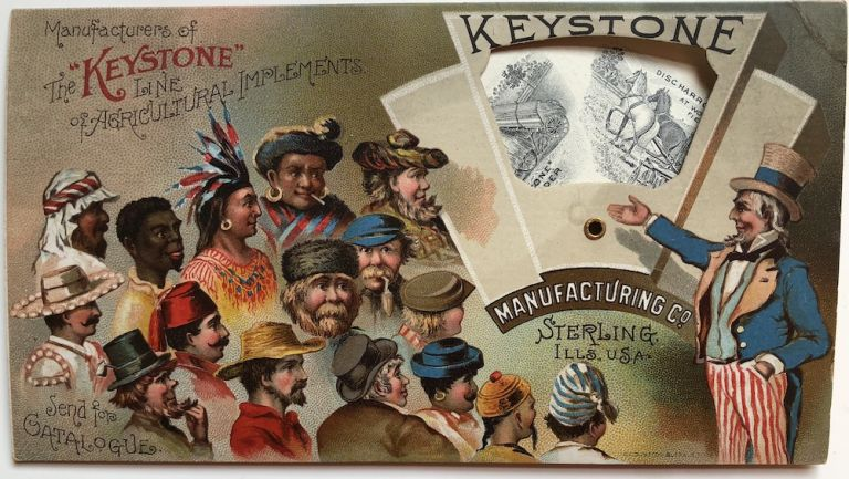 1880s trade card with moveable wheel for Keystone Manufacturing Co...