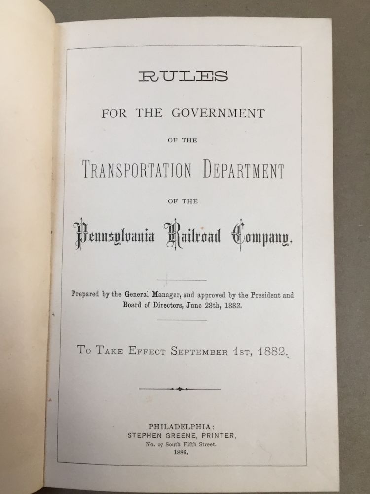 Rules for the Government of the Transportation Department of the...