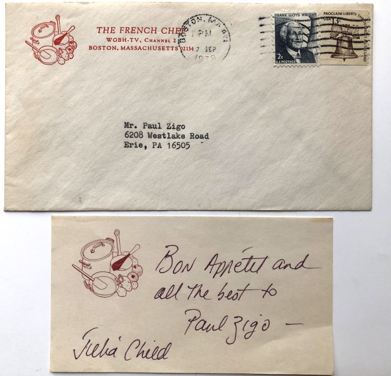 Inscribed slip of paper, with original envelope from The French Chef, 1978. Julia Child.