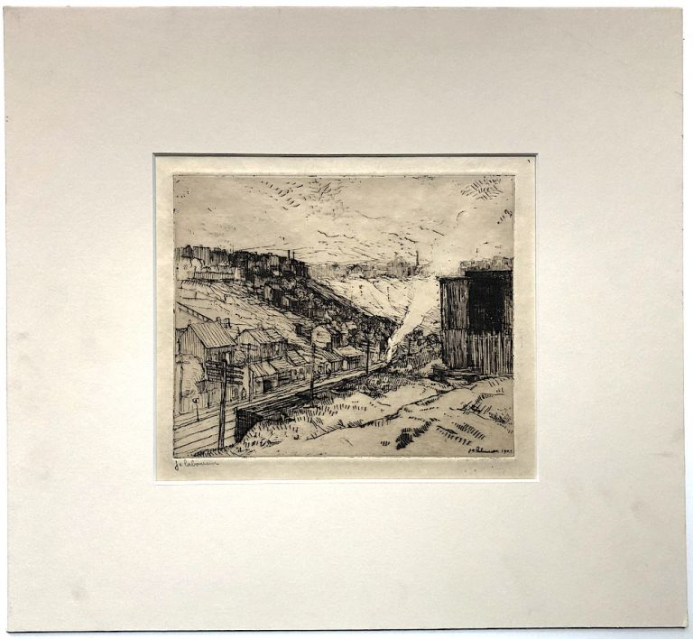 """""""Scenery Along the Railroad"""" from Ten Etchings from Pittsburgh (1905, limited to 60 signed prints). Jean-Emile Laboureur, J.-E."""