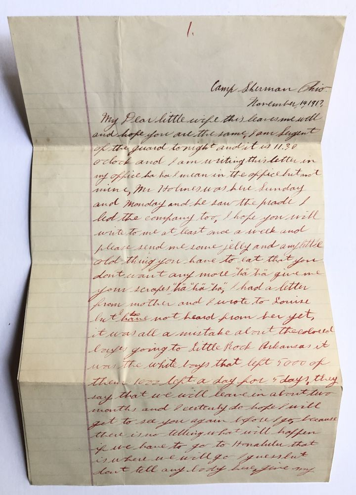 1917 4 pp. letter from African-American officer John Henry, Company A, No. 11, 317 Engineer's Corps, Camp Sherman Ohio about life in the barracks. African-American, John Henry.