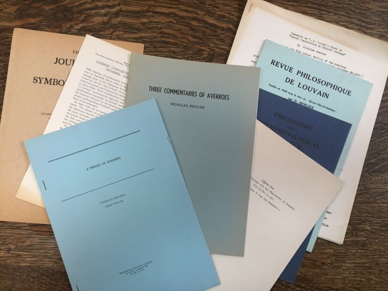 """8 offprints from the collection of Adolf Grünbaum: 1) The Distinction between Predicate, Intension and Extension (1959); 2) Discussion: A Reinterpretation of Degrees of Truth (1958); 3) Logical Analysis of Gestalt Concepts (co written with Paul Oppenheim) 1955; 4) Three Commentaries of Averroes (1959); 5) A Theory of Evidence (1958); 6) Leibniz' Conception of Quantity, Number, and Infinity (1955); 7) Leibniz's Interpretation of his Logical Calculi (1954); 8) Comments on T. A. Goudge's Paper on """"Causal Explanation in Natural History"""" (Presentated at an American Philosophical Association Meeting in 1957). Nicholas Rescher."""