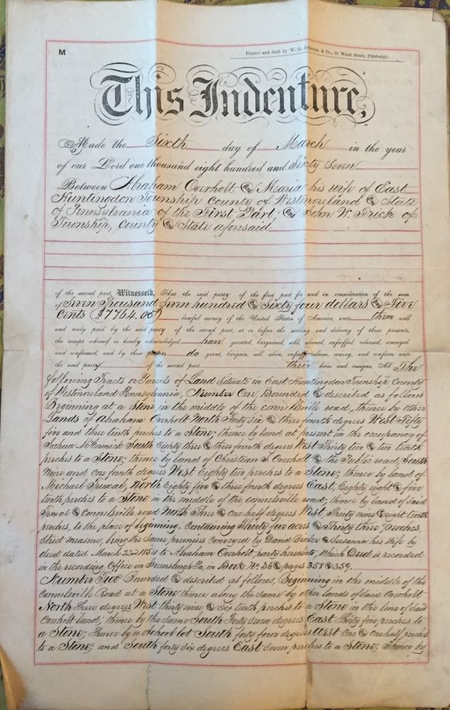 Indenture Deed (Land Transfer) Between Abraham Overholt and John W....