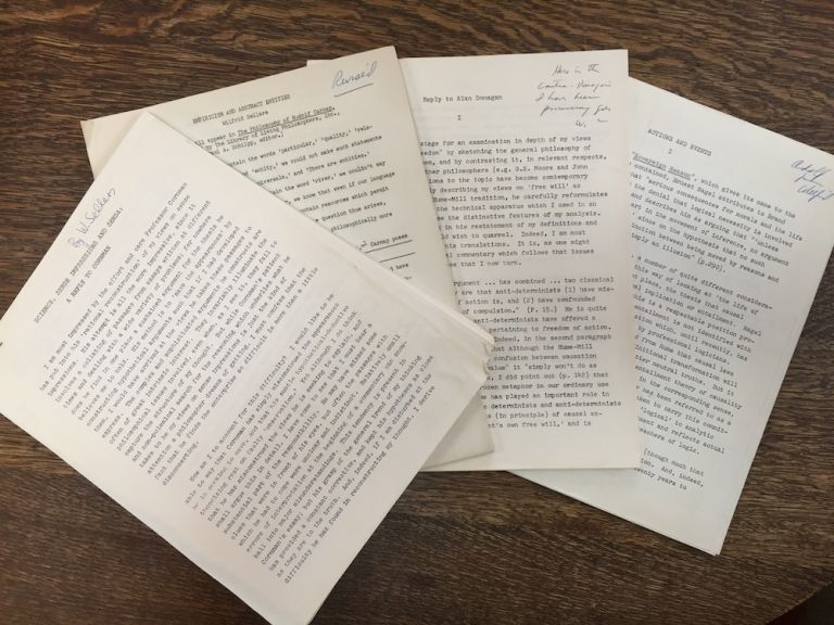 4 mimeo'd articles from the collection of Adolf Grünbaum: 1) Reply to Alan Donagan (with note to Grunbaum); 2) Empiricism and Abstract Entities; 3) Science, Sense Impressions and Sensa: A Reply to Cornman; 4) Actions and Events (inscribed to Grunbaum). Wilfrid Sellars.