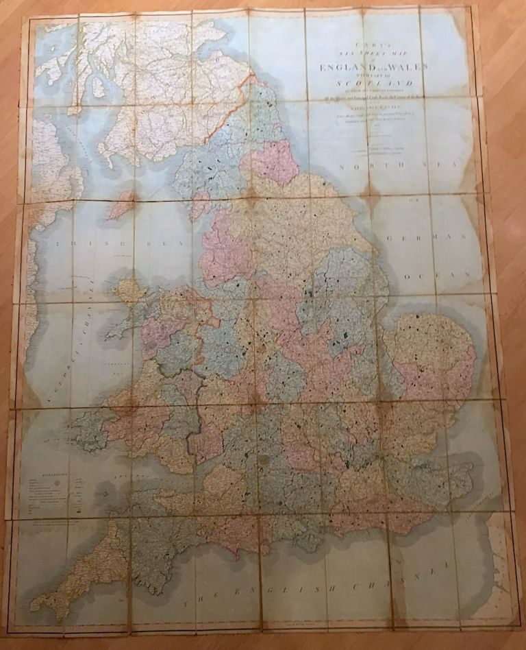 Cary's Six Sheet Map of England and Wales, with Part of Scotland, on which are carefully laid down All the Direct and Principal Cross Roads, the Course of the Rivers and Navigable Canals (1833). J. Cary.