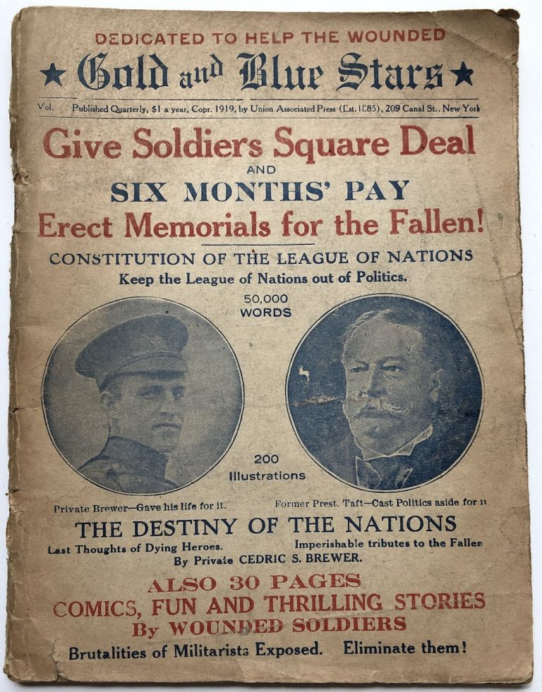 Gold and Blue Stars (1919; a journal advocating for fair treatment of veterans of WWI and against the 'brutalities of militarists'). Private Cedric S. Brewer, William S. Brewer.