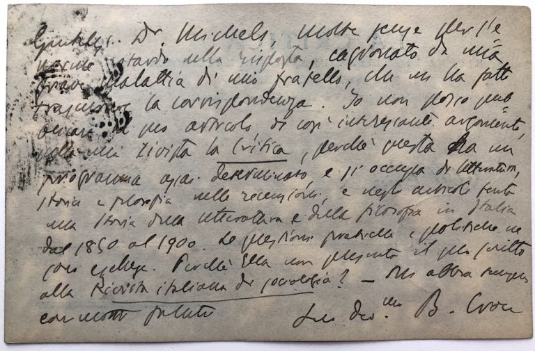 1904 autograph note on La Critica postcard to Robert Michels, Italian sociologist, asking for an article. Benedetto Croce.