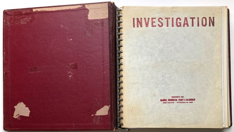 Ca. 1964 binder of 54 8x10 photos of potential safety hazards on PA Railroad cars and yards prepared by a Pittsburgh law firm representing the plaintiff. Pennsylvania Railroad.