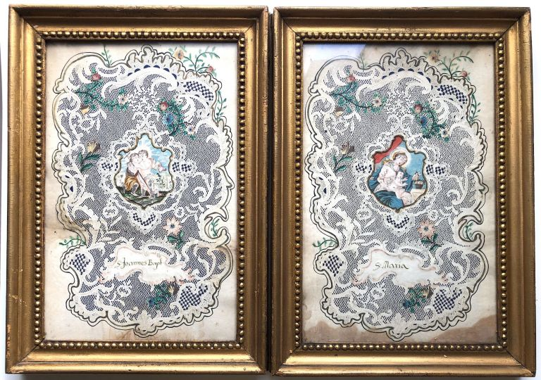 2 large devotional Valentines of the mid-18th century, framed, probably German. n/a.