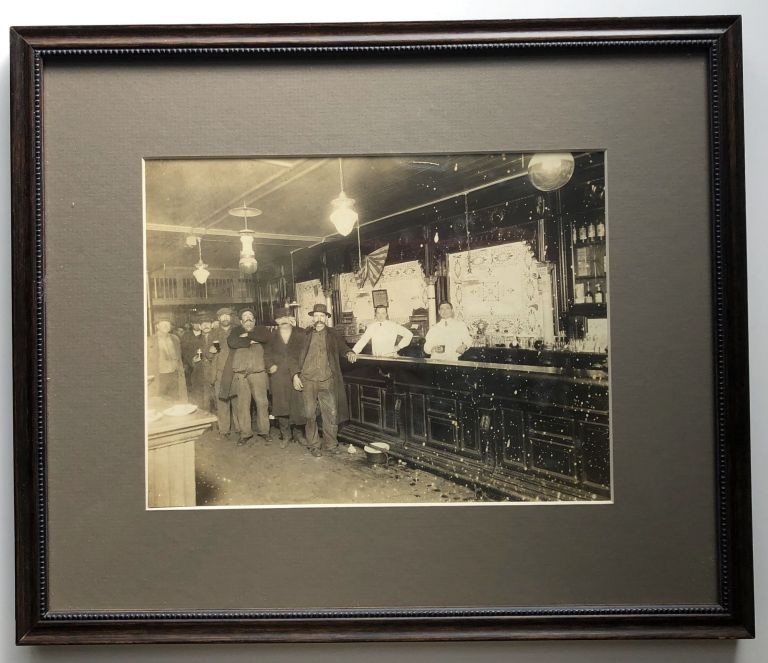4 1890s framed photographs of men in bars (photos measure 8x6 inches, uniformly framed recently). Alcohol - Drinking.