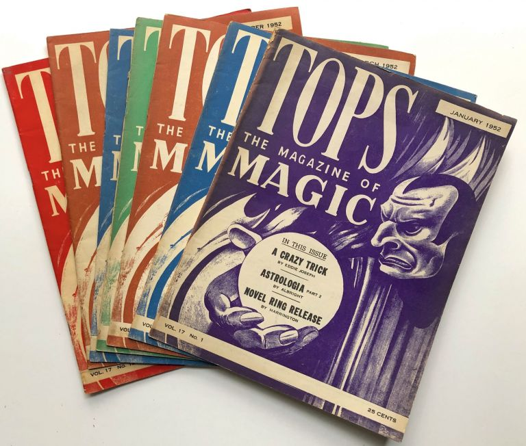 Tops, the Magazine of Magic, Vol. 17 (1952) 7 issues: Jan, Feb, March, April, August, Oct, December. Percy Abbott, ed.