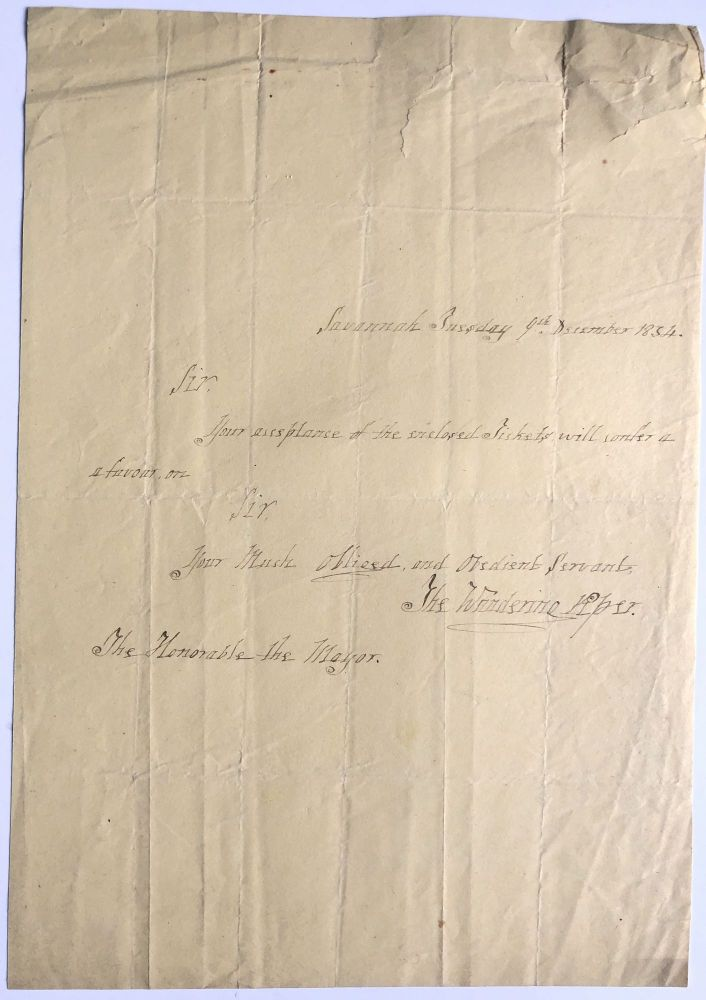 1834 note to the mayor of Savannah, Georgia enclosing tickets to his performance. The Wandering Piper Captain Alexander Graham Stuart de Vere.
