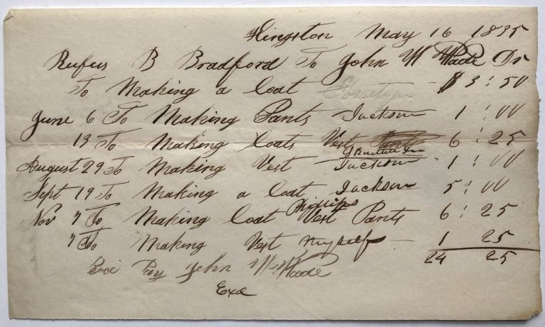1835 itemized bill from Rufus B. Bradford, tailor, of Kingston, MA, for making coats, vest and pants. MA - Kingston.
