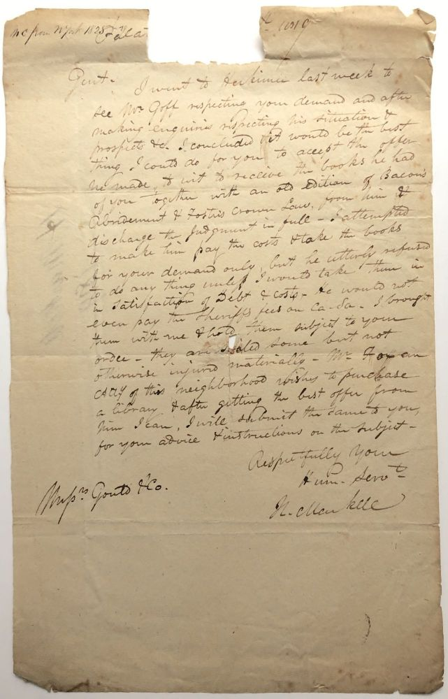 1828 letter to Gould & Co. Albany (sellers and publishers of law books) about going to Herkimer, NY on their behalf and taking possession of a library of books in payment for a debt. 19th century antiquarian book trade, H. Markell.