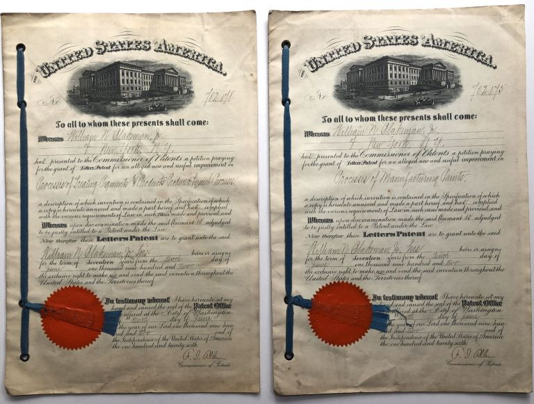 2 original patents from 1902 issued for Process of Treating Pigments and Processes of Manufacturing Paints. Chemistry.