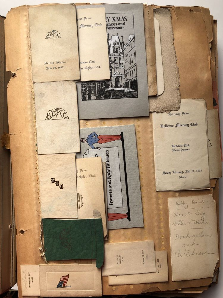 Large scrapbook of Frances Elizabeth Trent from 1917-1930s - dance cards, flyers from high schools and colleges for dances, letters from boyfriends in WWI, postcards, wedding invitations, Xmas, Valentine & Anniversary cards, etc. Pittsburgh - Crafton - Bellevue.