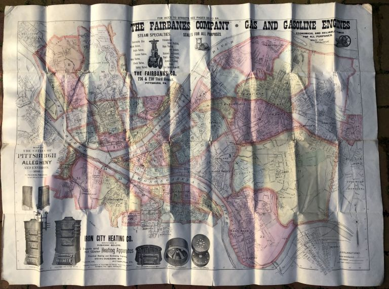 1898 large map in color of Pittsburgh, Allegheny and Environs (43 x 32 inches). R. L. Polk Co.