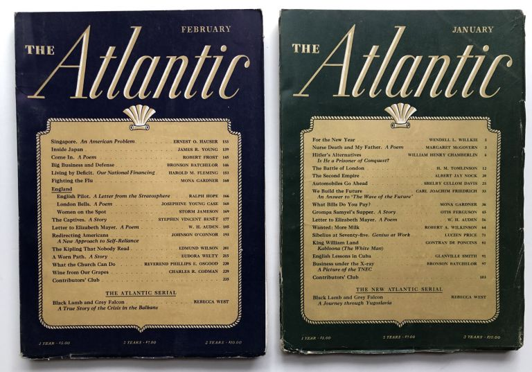 The Atlantic Monthly magazine January & February 1941. W. H. Auden, Rebecca West, Edmund Wilson, Lucien Frost, Robert Frost, Eudora Welty.