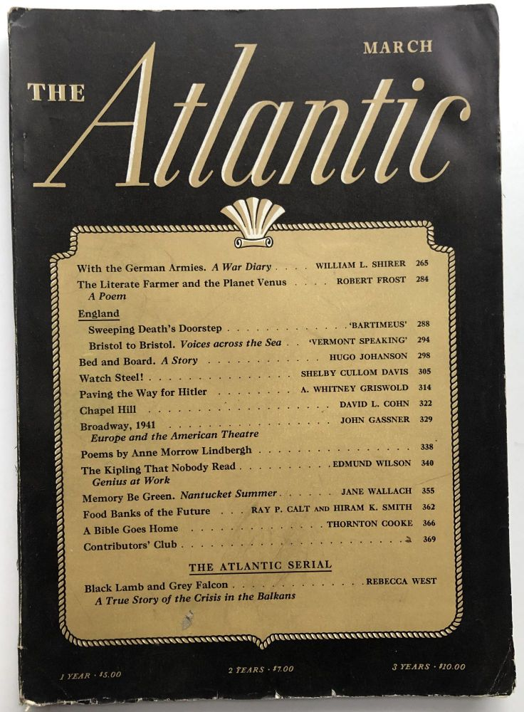 The Atlantic Monthly magazine March 1941. Robert Frost, William L. Shirer, Edmund Wilson.