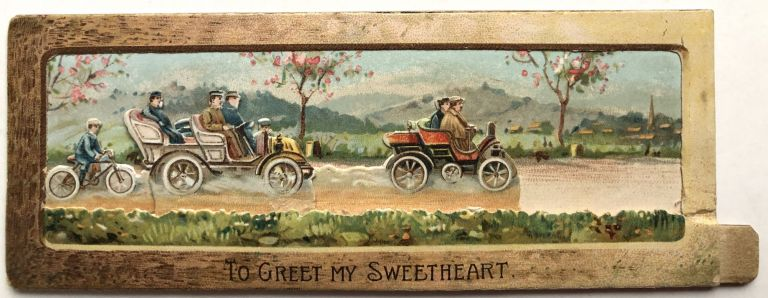 1910s moveable Valentine featuring autocars & a bicyclist. Raphael Tuck, Sons.