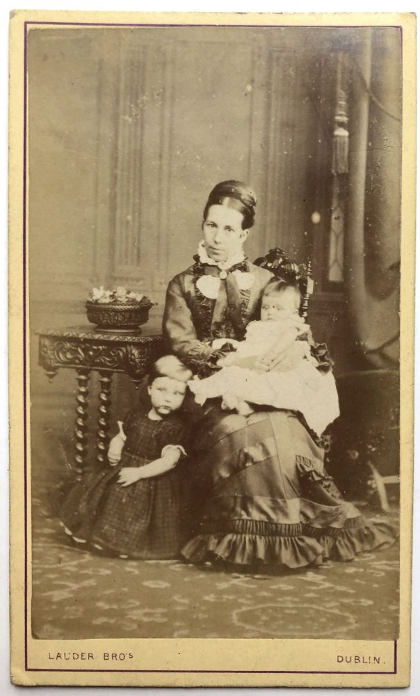 CDV of an Irish mother and her two young children, ca. 1865. Lauder Bros. Dublin.