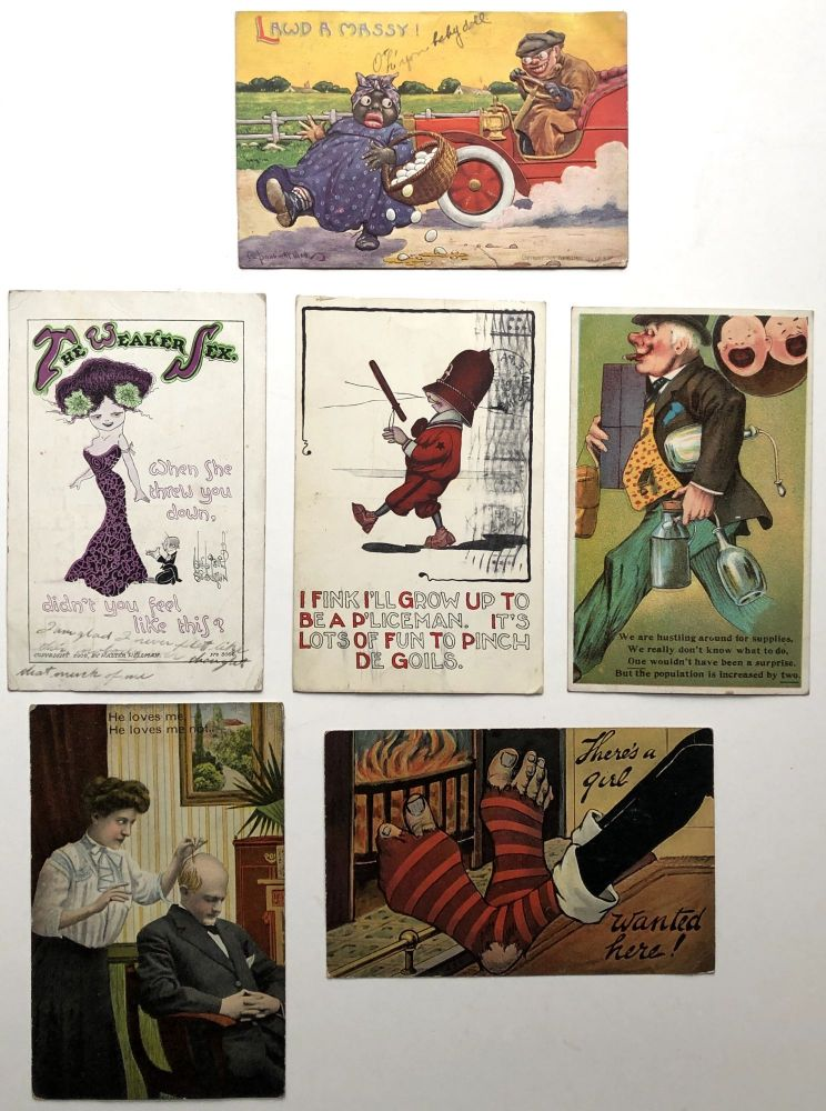 6 humorous postcards, including a racist one by Wall and a sexist one by Wellman, 1909-1914. Walter Wellman Bernhardt Wall.