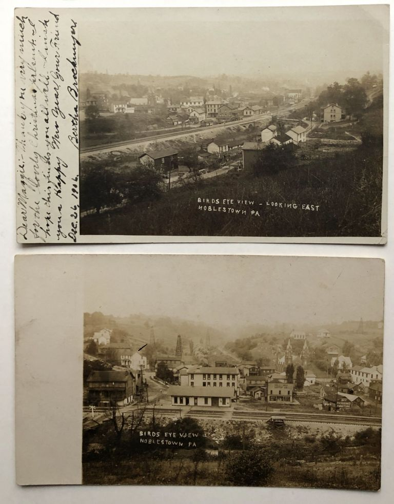 2 real photo postcards Birds Eye View of Noblestown, PA Ca. 1906. PA Allegheny County.