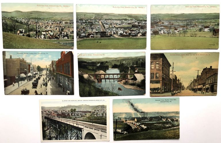 8 early postcards of Elwood City PA 1910-1915. PA Lawrence County.