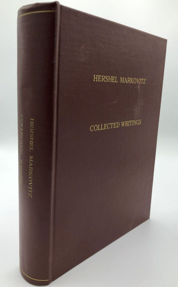 Collected Writings, compiled by his colleagues as a token of respect and appreciation on the occasion of his 65th birthday, October 11, 1986. Hershel Markovitz.