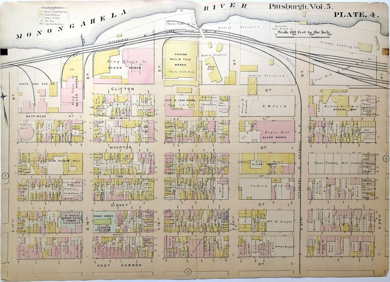 """1890 linen backed map 27 x 19.5"""" Pittsburgh South Side"""
