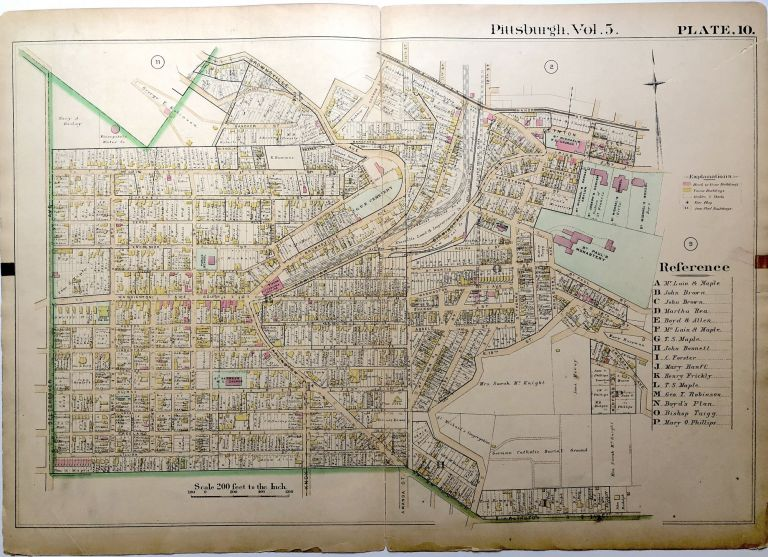 """1890 linen backed map 27 x 19.5"""" Pittsburgh Mt. Oliver & Knoxville"""