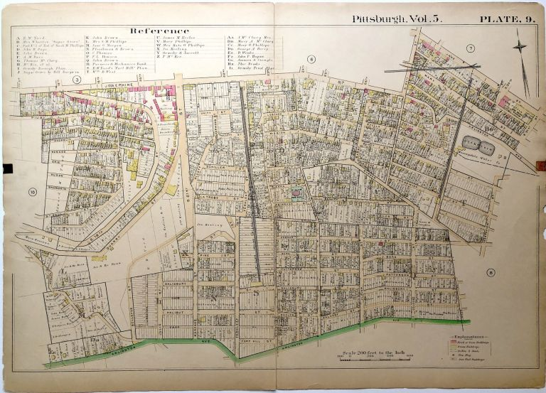 """1890 linen backed map 27 x 19.5"""" Pittsburgh South Side Slopes"""