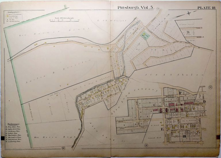 """1890 linen backed map 27 x 19.5"""" Pittsburgh Duquesne Heights & Mt. Washington"""