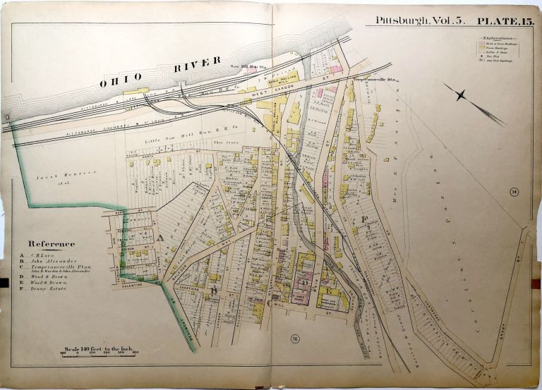 """1890 linen backed map 27 x 19.5"""" Pittsburgh West End"""