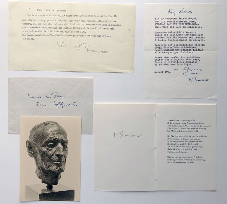 Group of letters, notes, publications, inscribed by Hesse to Richard Hoffman. Hermann Hesse, Ninon.