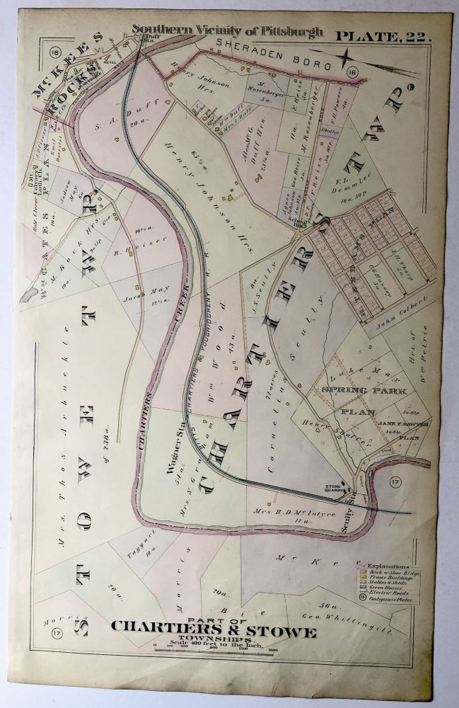 1896 Pittsburgh Plat Map 14.5 x 23: Part of Chartiers & Stowe Township