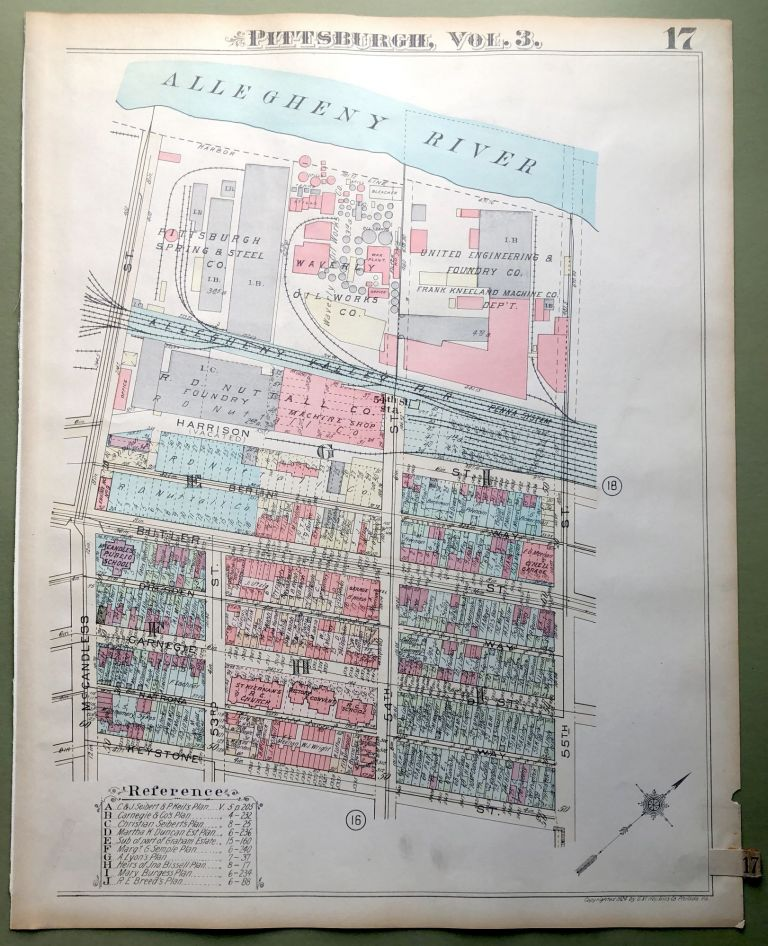 1924 Pittsburgh Plat Map 23x18: Lawrenceville, Stanton Hts.