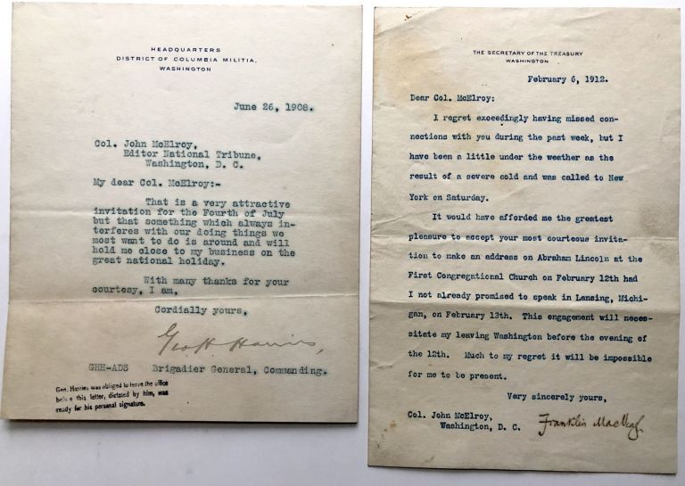 2 typed notes, 1908 & 1912, declining invitations to speak. Franklin MacVeagh, Gen. George H. Harries.
