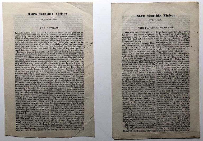 Stow Monthly Visitor, October 1846 & April 1847: The Orphan / The Contrast in Death. 19th Century Scottish Tracts.