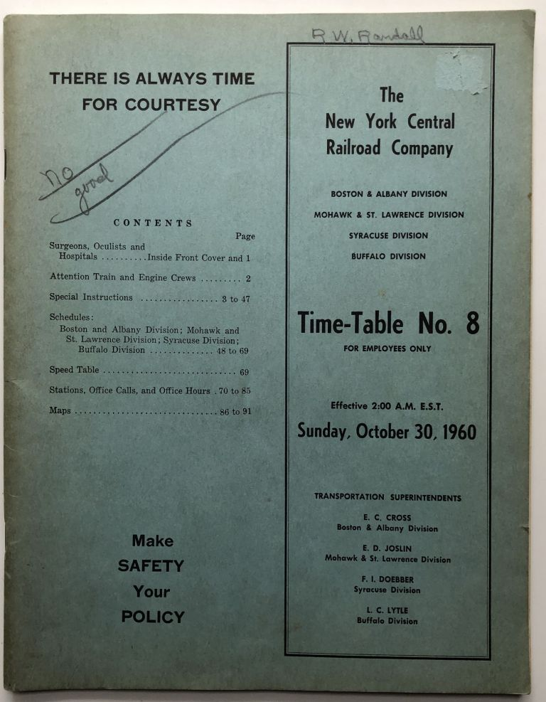 Time-Table No. 8, Sunday October 30, 1960. New York Central Railway Company.