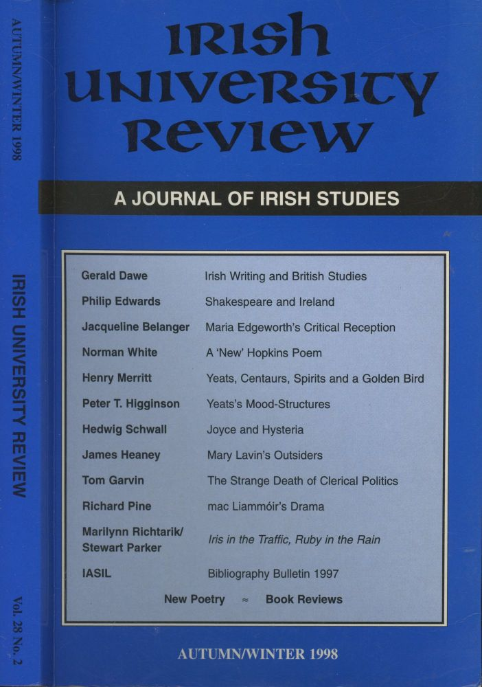 Irish University Review: A Journal of Irish Studies. Anthony Roche.