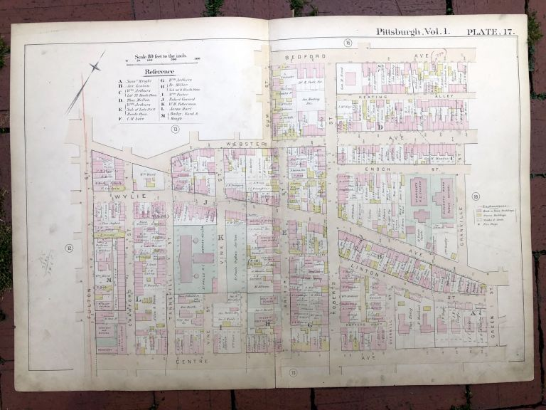 1889 large double-page color map of HILL DISTRICT, Pittsburgh. Griffith M. Hopkins.